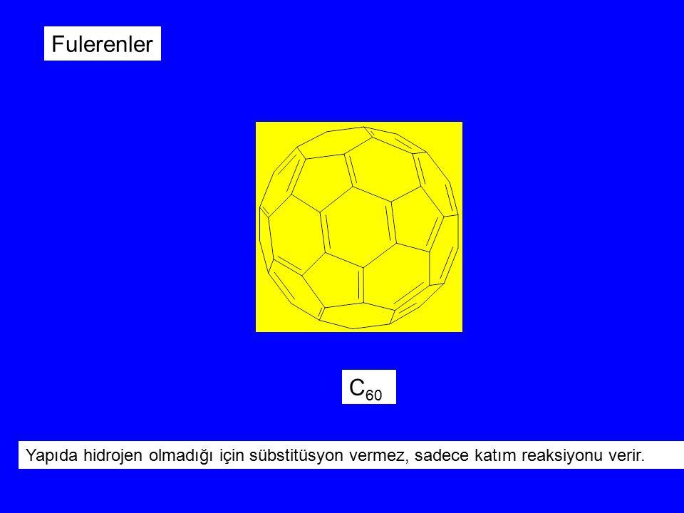 Fulerenler C60 Yapıda hidrojen olmadığı için sübstitüsyon vermez, sadece katım reaksiyonu verir.