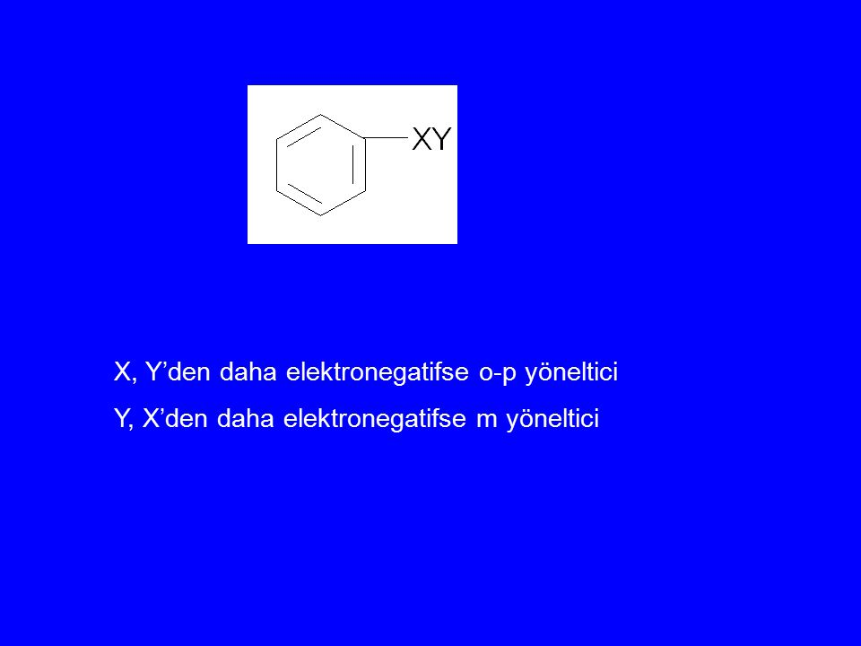 X, Y'den daha elektronegatifse o-p yöneltici