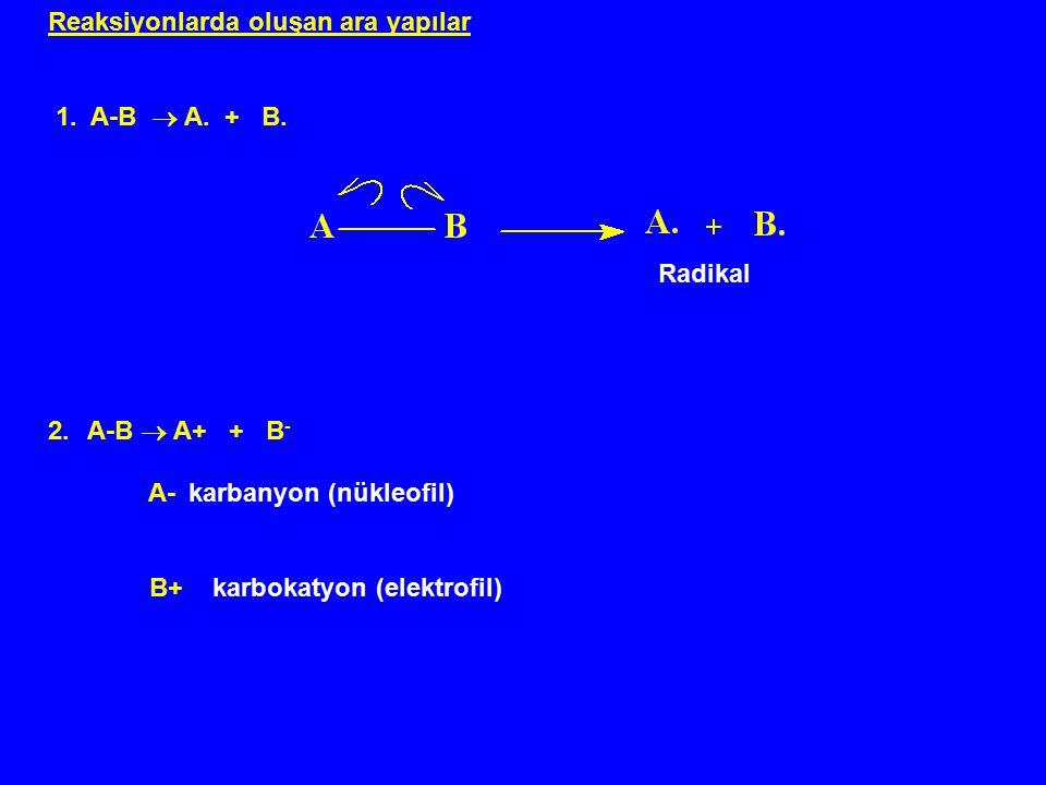 Reaksiyonlarda oluşan ara yapılar