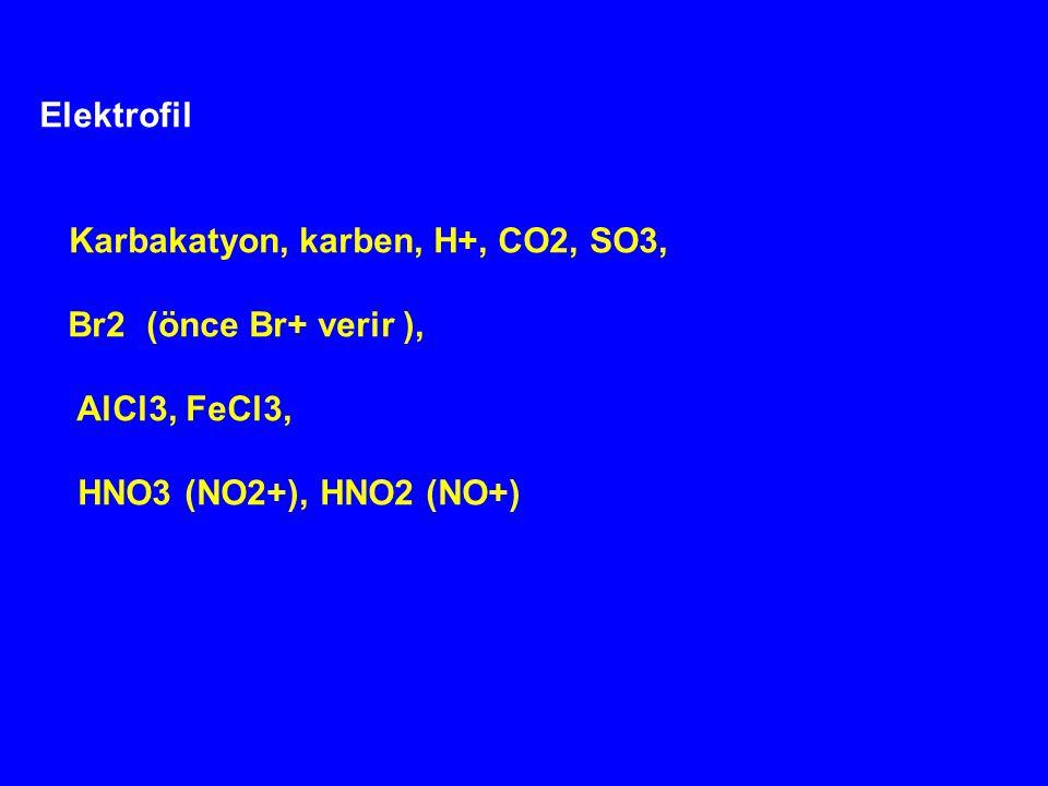 Elektrofil Br2 (önce Br+ verir ), AlCl3, FeCl3,