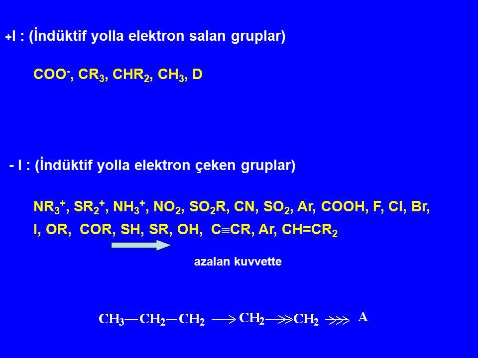 - I : (İndüktif yolla elektron çeken gruplar)