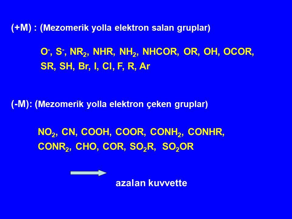 (+M) : (Mezomerik yolla elektron salan gruplar)