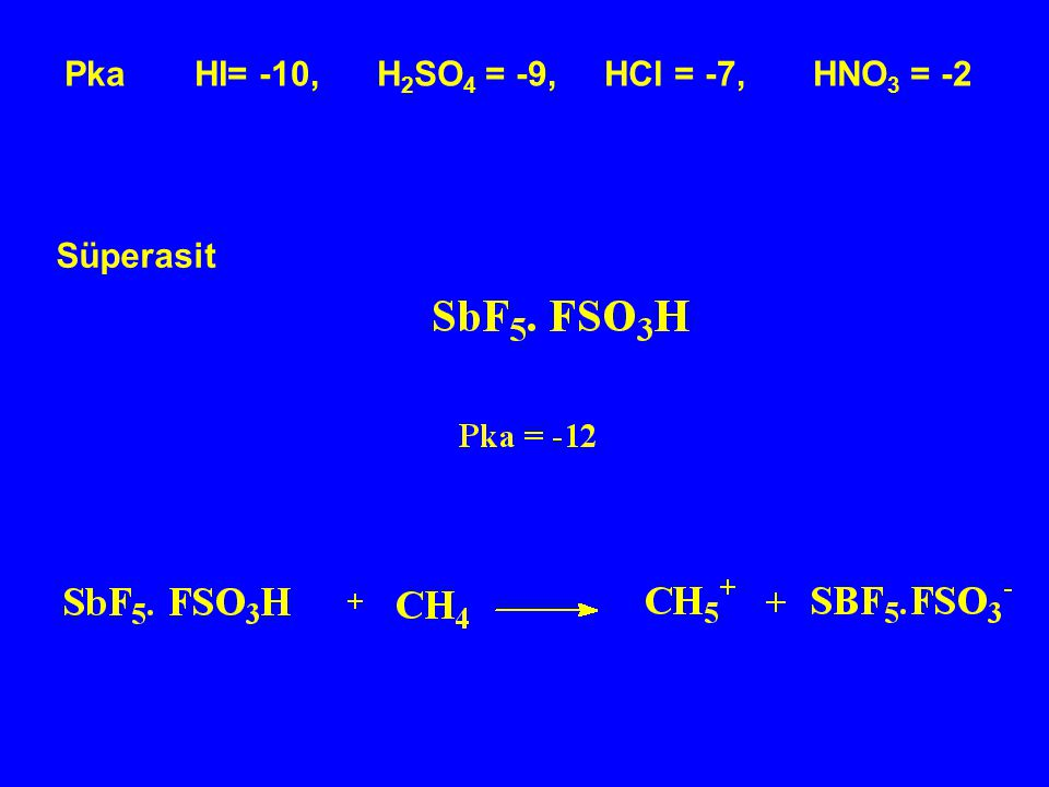 Pka HI= -10, H2SO4 = -9, HCl = -7, HNO3 = -2