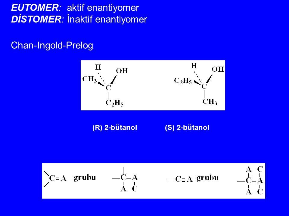 EUTOMER: aktif enantiyomer DİSTOMER: İnaktif enantiyomer