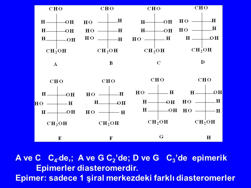 A ve C C4'de,; A ve G C2'de; D ve G C3'de epimerik