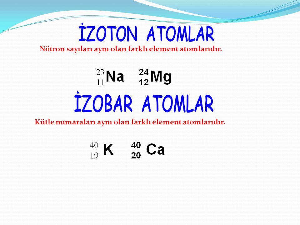 İZOTON ATOMLAR Nötron sayıları aynı olan farklı element atomlarıdır.