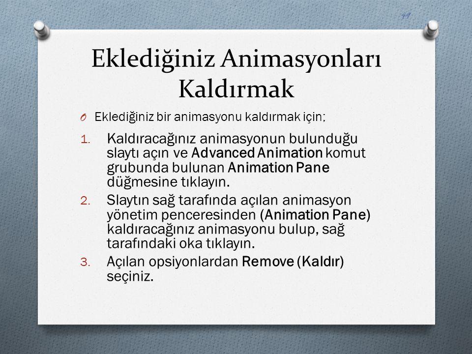 Eklediğiniz Animasyonları Kaldırmak