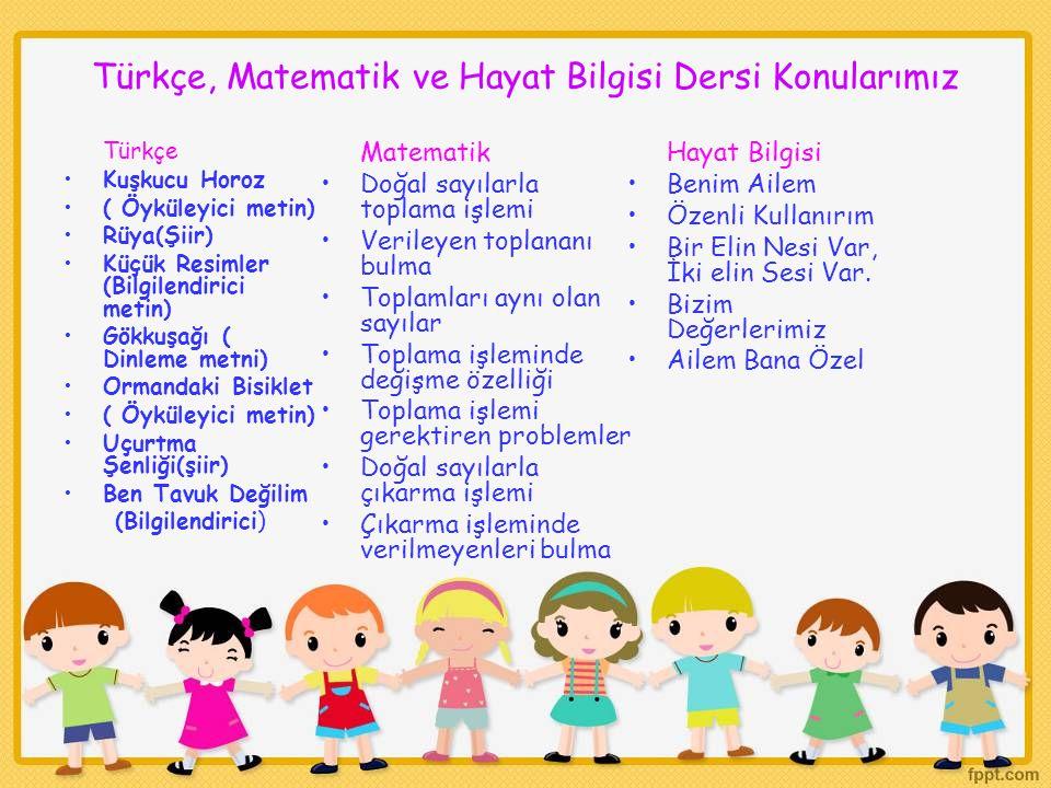 Türkçe, Matematik ve Hayat Bilgisi Dersi Konularımız