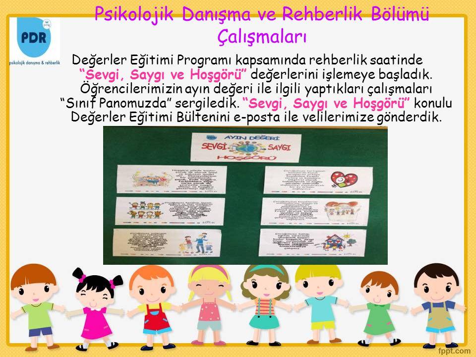 Psikolojik Danışma ve Rehberlik Bölümü Çalışmaları
