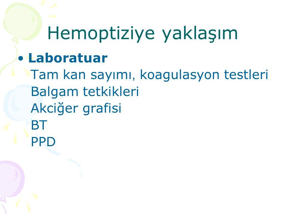 Hemoptiziye yaklaşım Laboratuar Tam kan sayımı, koagulasyon testleri
