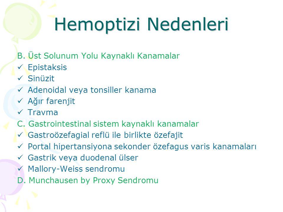 Hemoptizi Nedenleri B. Üst Solunum Yolu Kaynaklı Kanamalar Epistaksis