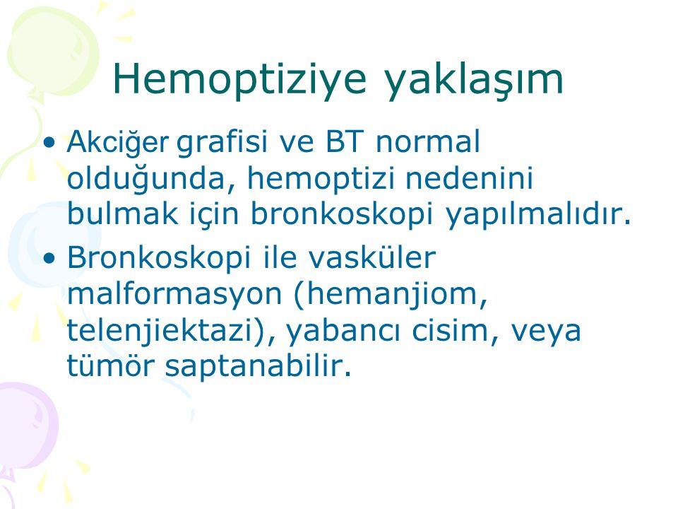 Hemoptiziye yaklaşım Akciğer grafisi ve BT normal olduğunda, hemoptizi nedenini bulmak için bronkoskopi yapılmalıdır.
