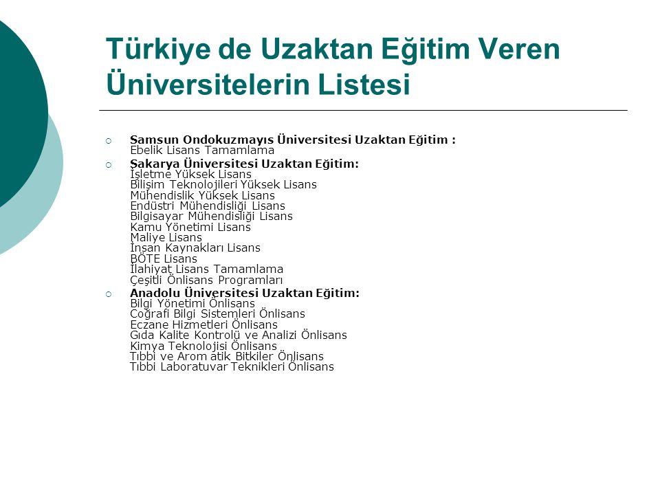 Türkiye de Uzaktan Eğitim Veren Üniversitelerin Listesi