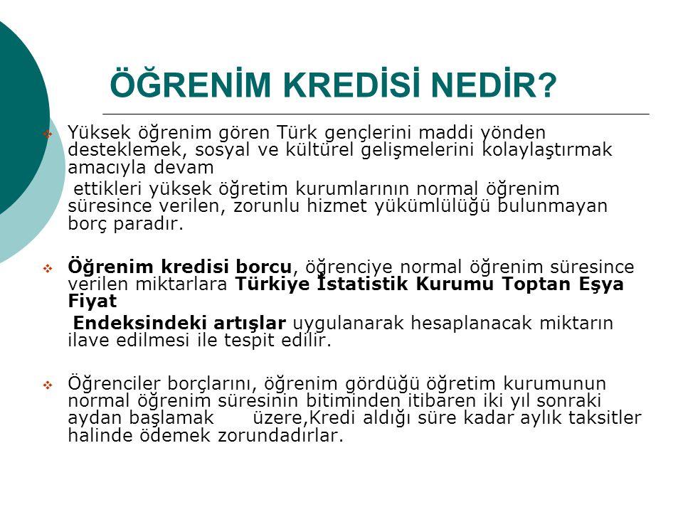ÖĞRENİM KREDİSİ NEDİR Yüksek öğrenim gören Türk gençlerini maddi yönden desteklemek, sosyal ve kültürel gelişmelerini kolaylaştırmak amacıyla devam.