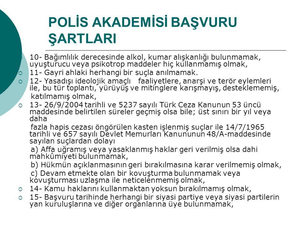 POLİS AKADEMİSİ BAŞVURU ŞARTLARI