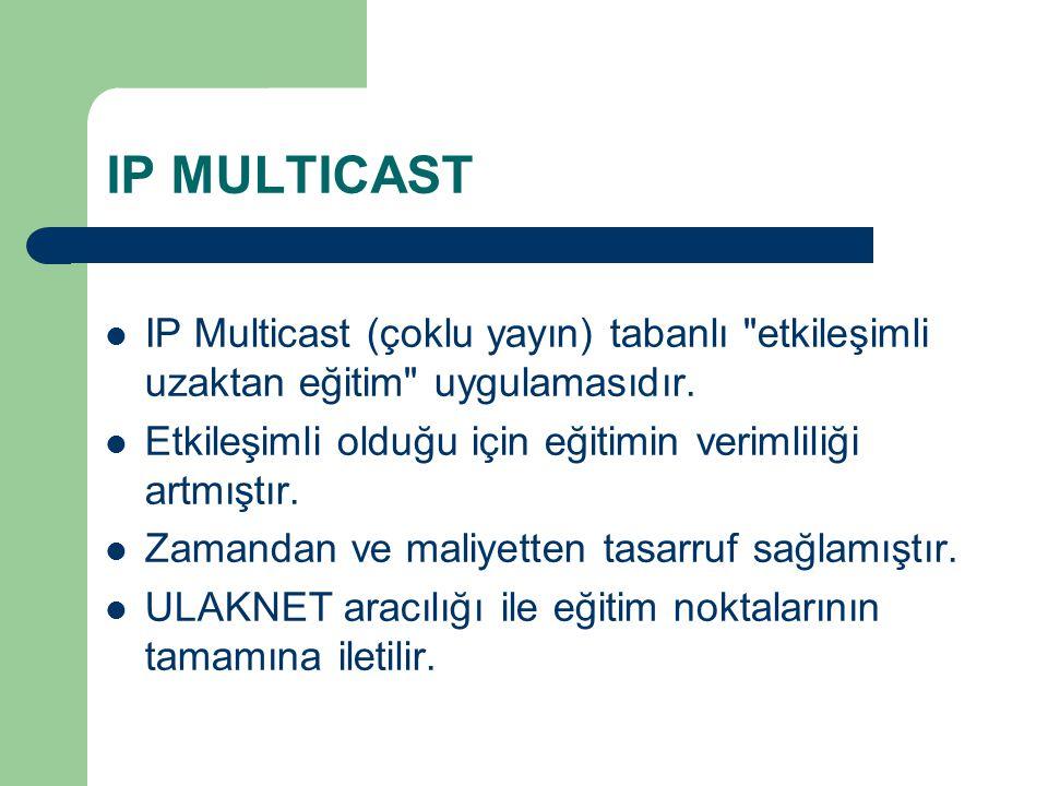 IP MULTICAST IP Multicast (çoklu yayın) tabanlı etkileşimli uzaktan eğitim uygulamasıdır. Etkileşimli olduğu için eğitimin verimliliği artmıştır.