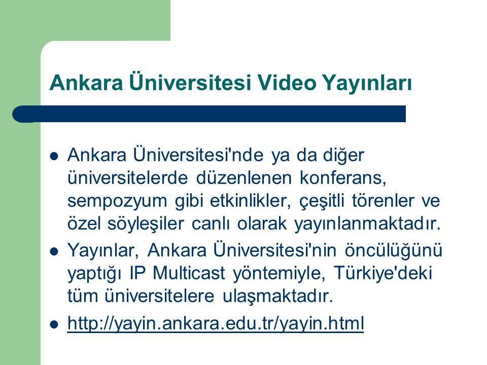 Ankara Üniversitesi Video Yayınları