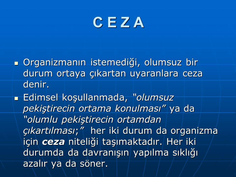 C E Z A Organizmanın istemediği, olumsuz bir durum ortaya çıkartan uyaranlara ceza denir.