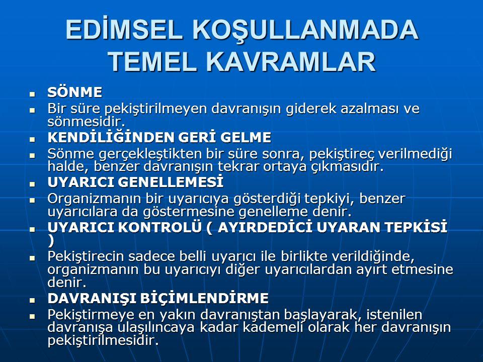 EDİMSEL KOŞULLANMADA TEMEL KAVRAMLAR