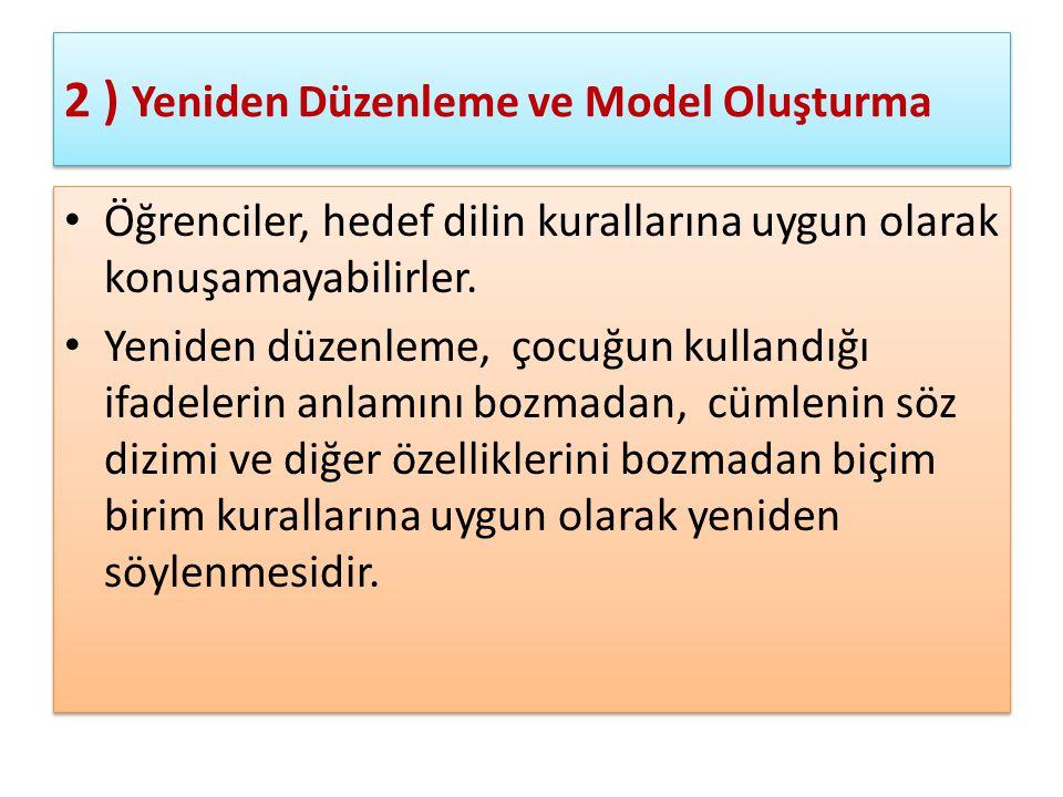 2 ) Yeniden Düzenleme ve Model Oluşturma