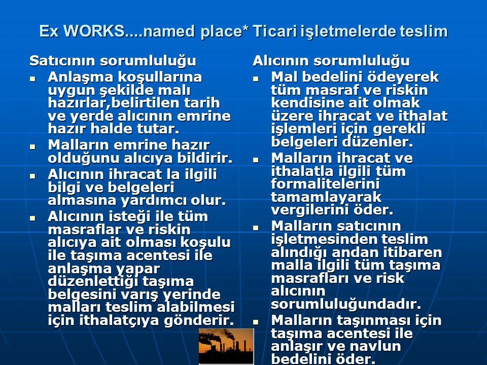 Ex WORKS....named place* Ticari işletmelerde teslim