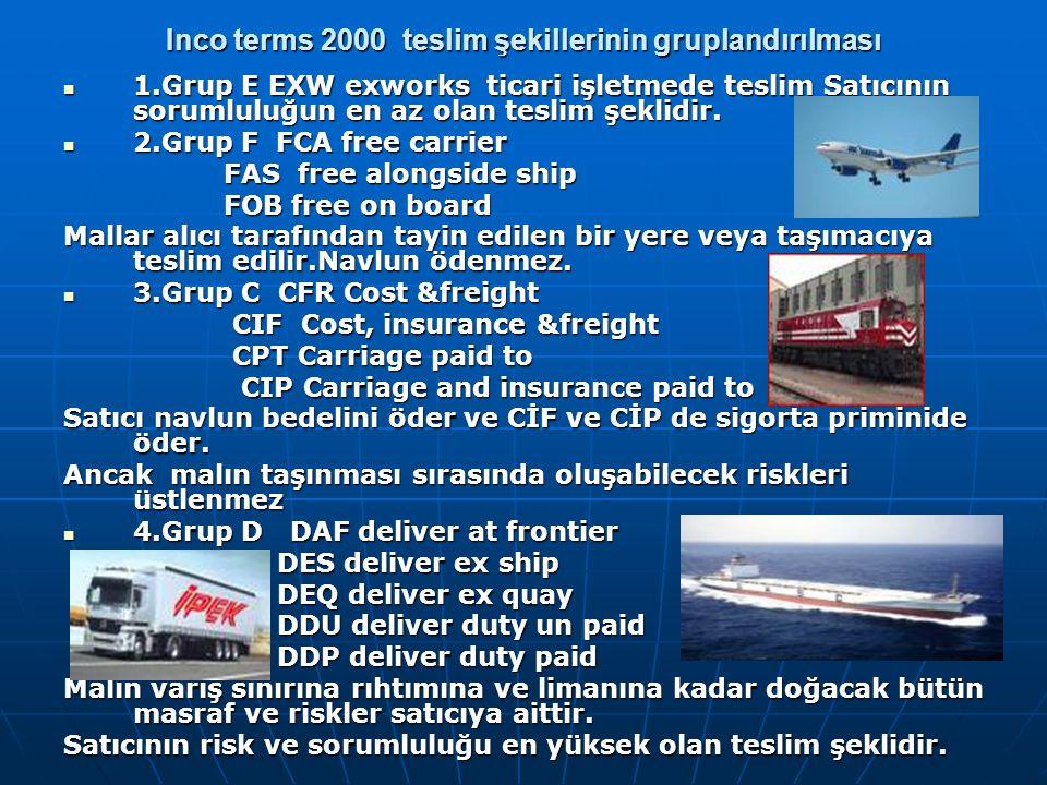 Inco terms 2000 teslim şekillerinin gruplandırılması