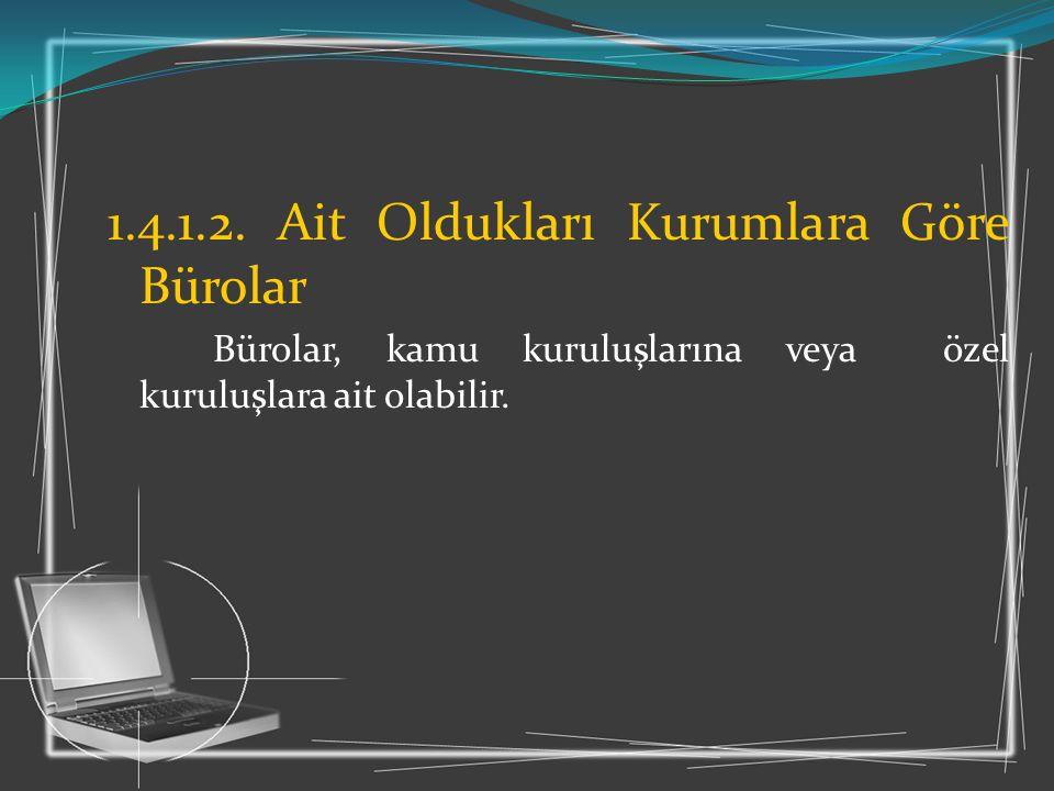 1.4.1.2. Ait Oldukları Kurumlara Göre Bürolar
