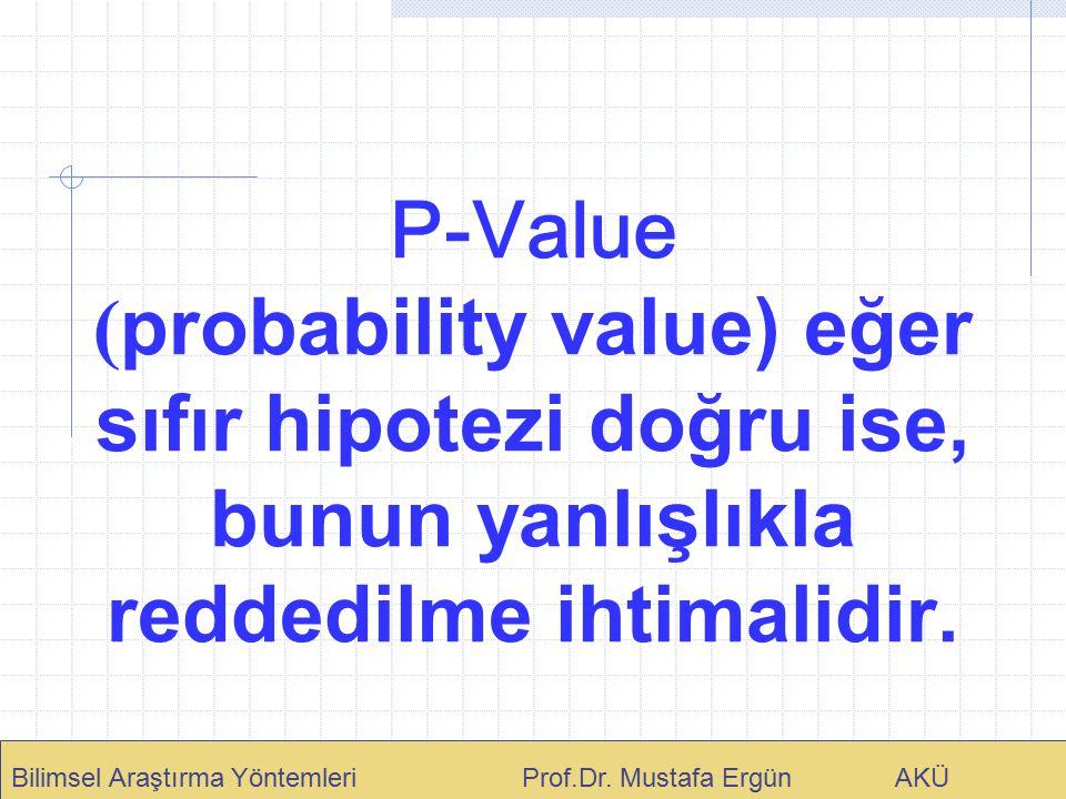 P-Value (probability value) eğer sıfır hipotezi doğru ise, bunun yanlışlıkla reddedilme ihtimalidir.