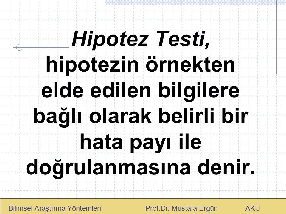 Hipotez Testi, hipotezin örnekten elde edilen bilgilere bağlı olarak belirli bir hata payı ile doğrulanmasına denir.