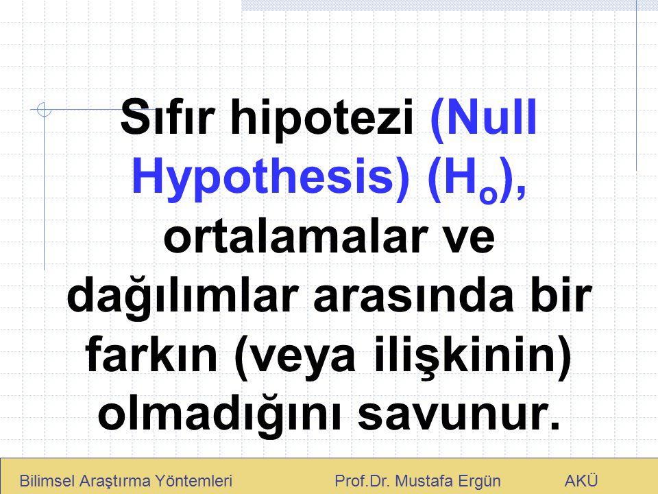 Sıfır hipotezi (Null Hypothesis) (Ho), ortalamalar ve dağılımlar arasında bir farkın (veya ilişkinin) olmadığını savunur.