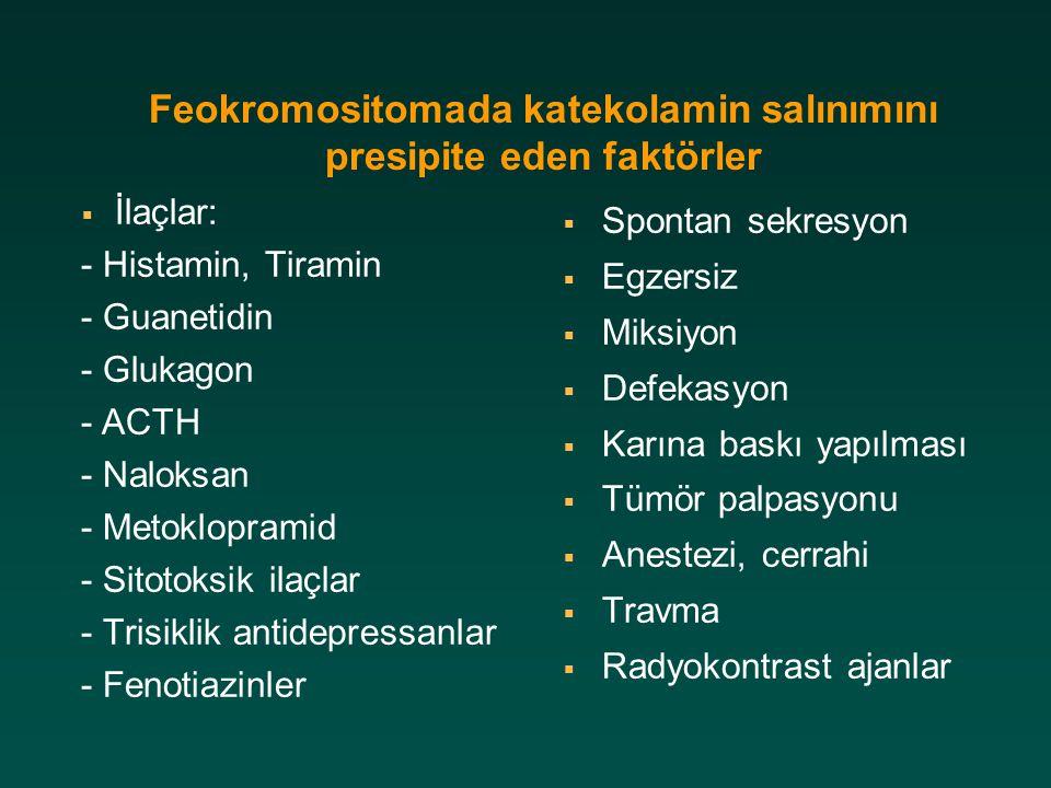 Feokromositomada katekolamin salınımını presipite eden faktörler