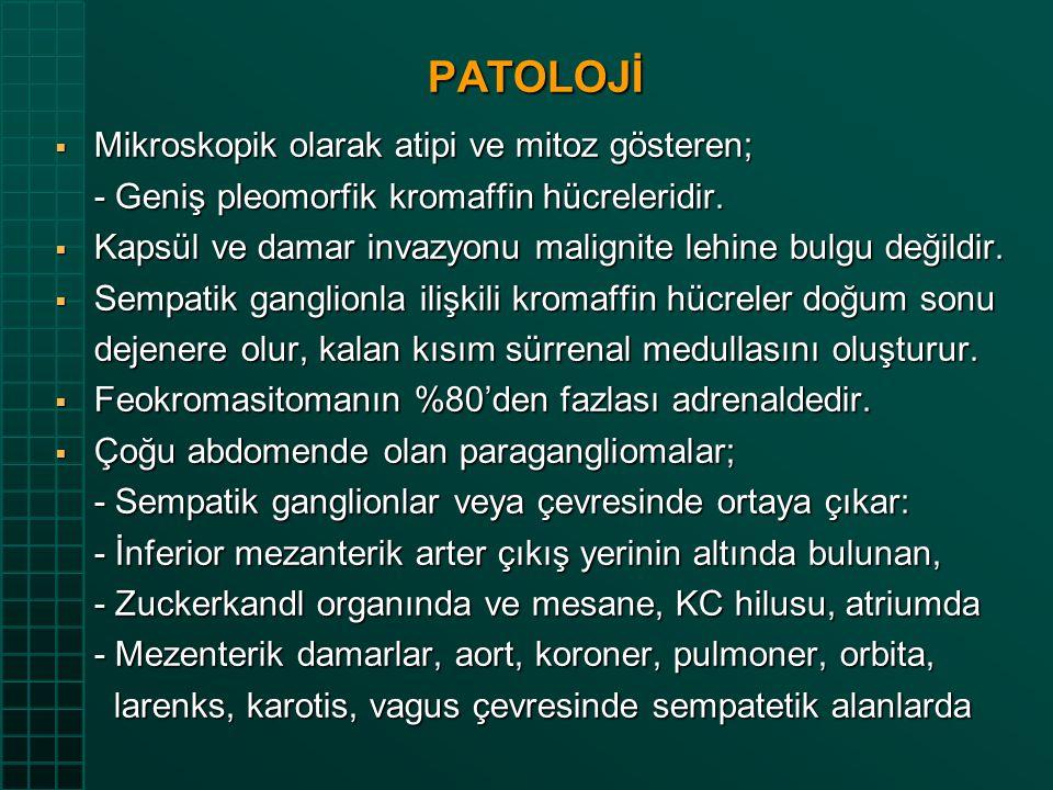 PATOLOJİ Mikroskopik olarak atipi ve mitoz gösteren;