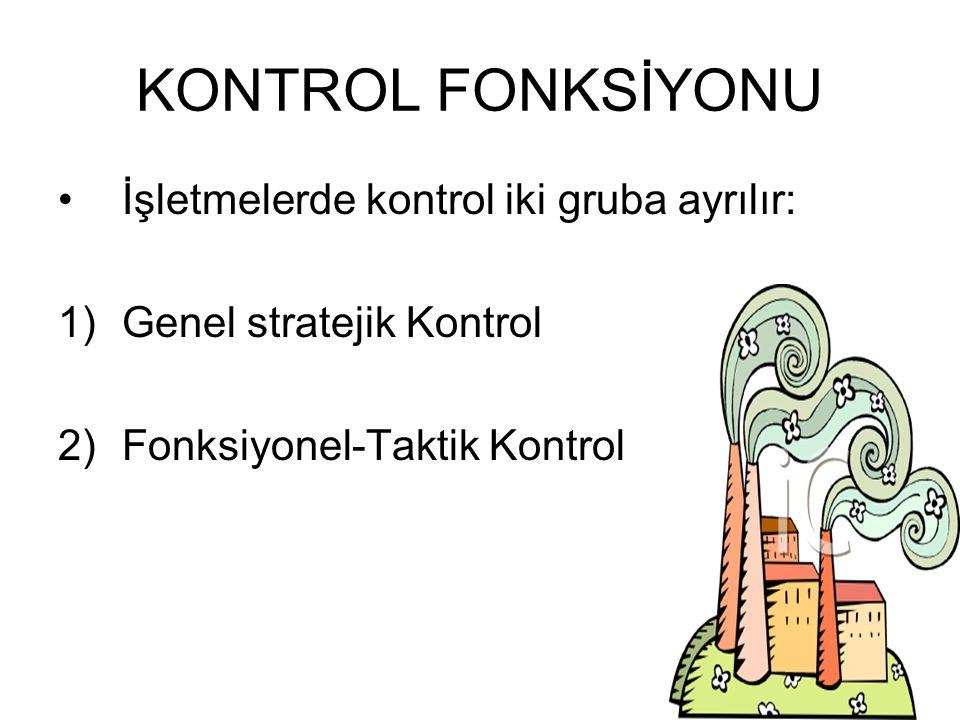 KONTROL FONKSİYONU İşletmelerde kontrol iki gruba ayrılır: