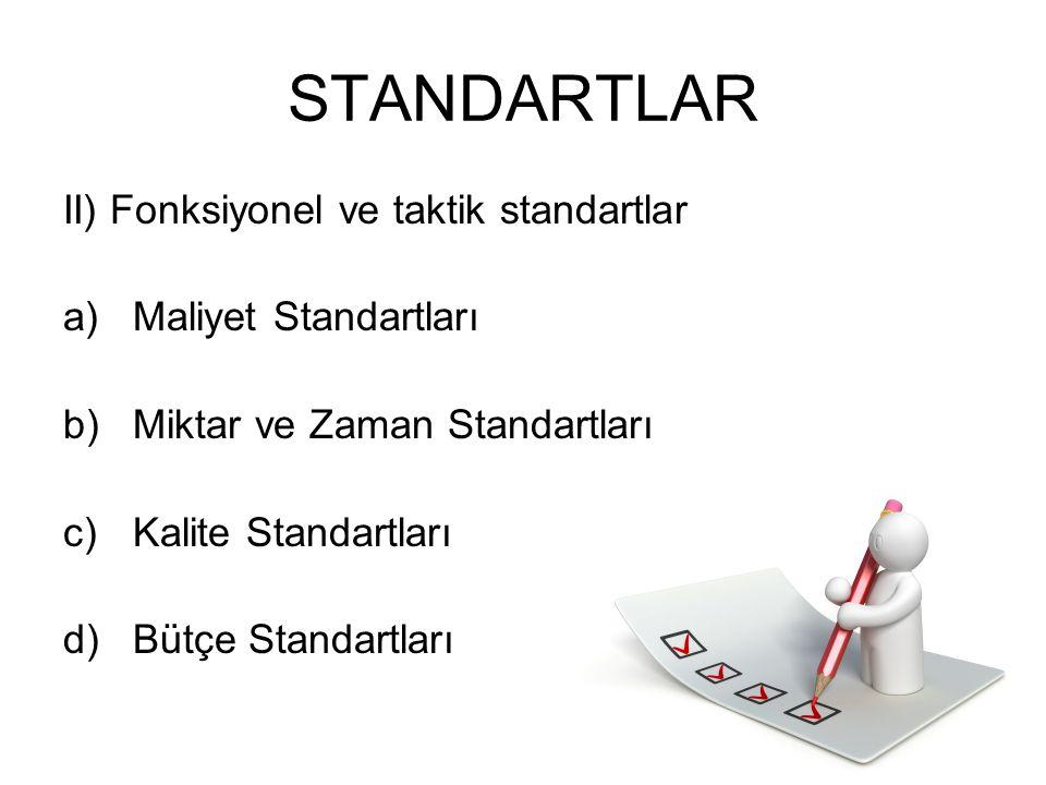 STANDARTLAR II) Fonksiyonel ve taktik standartlar Maliyet Standartları
