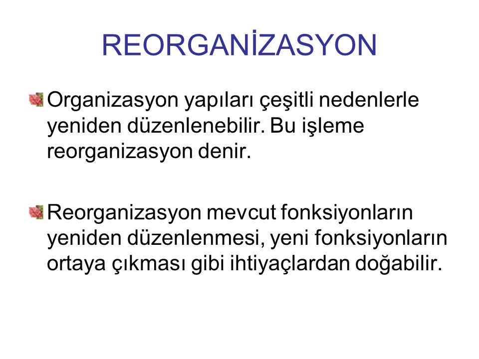 REORGANİZASYON Organizasyon yapıları çeşitli nedenlerle yeniden düzenlenebilir. Bu işleme reorganizasyon denir.