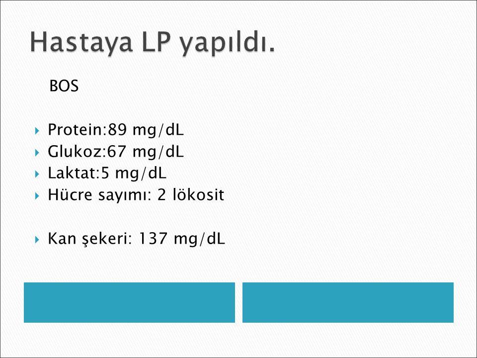 Hastaya LP yapıldı. BOS Protein:89 mg/dL Glukoz:67 mg/dL