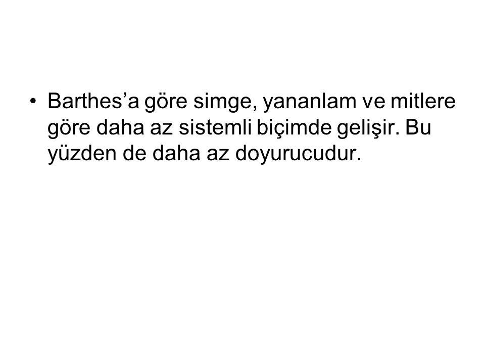 Barthes'a göre simge, yananlam ve mitlere göre daha az sistemli biçimde gelişir.