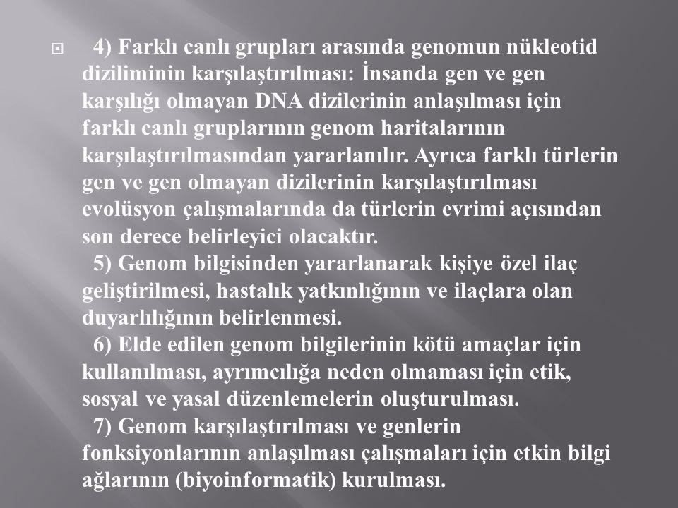 4) Farklı canlı grupları arasında genomun nükleotid diziliminin karşılaştırılması: İnsanda gen ve gen karşılığı olmayan DNA dizilerinin anlaşılması için farklı canlı gruplarının genom haritalarının karşılaştırılmasından yararlanılır.
