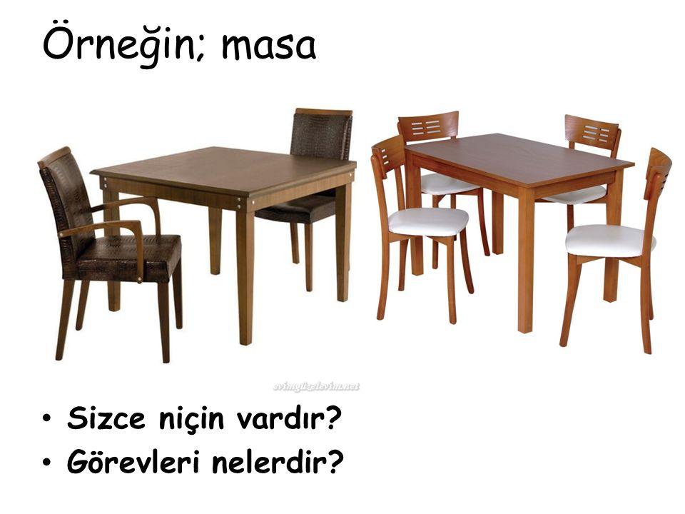 Örneğin; masa Sizce niçin vardır Görevleri nelerdir