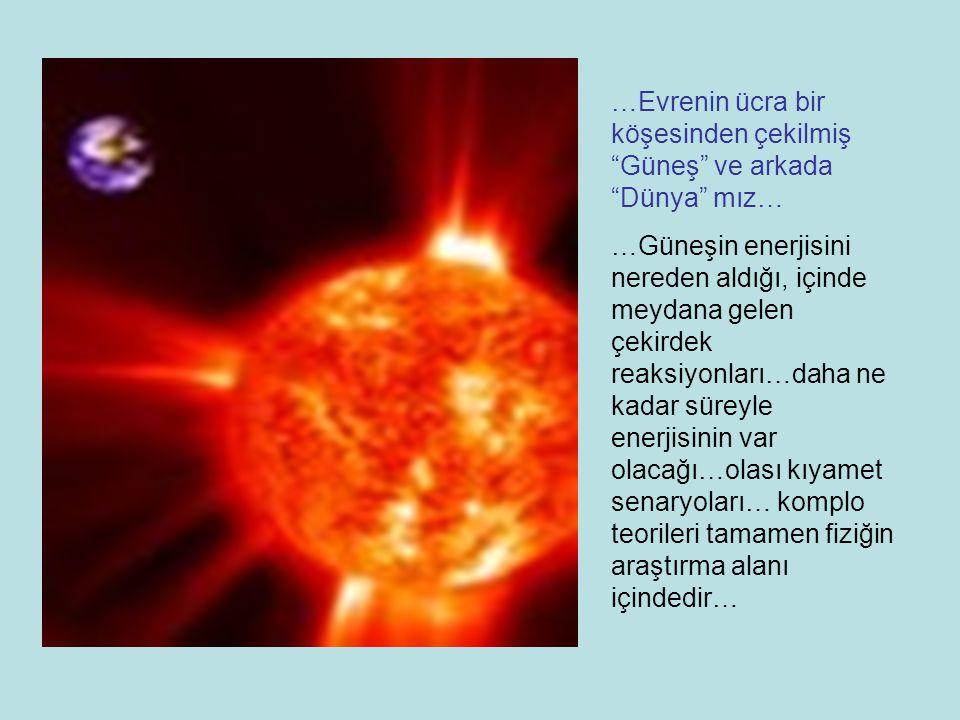 …Evrenin ücra bir köşesinden çekilmiş Güneş ve arkada Dünya mız…