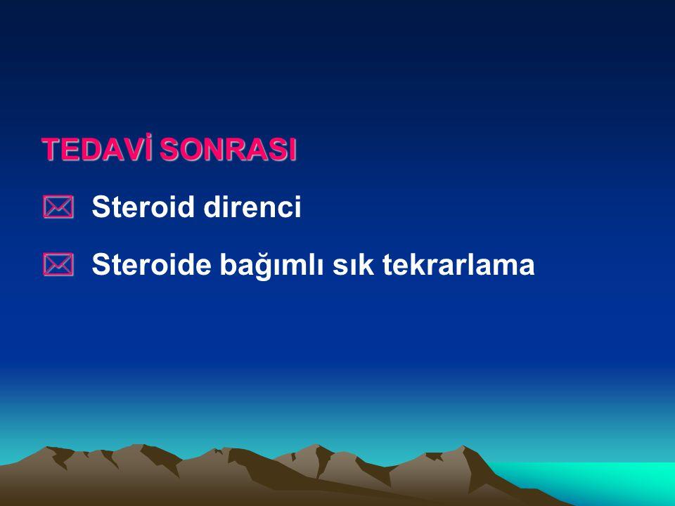 TEDAVİ SONRASI * Steroid direnci * Steroide bağımlı sık tekrarlama
