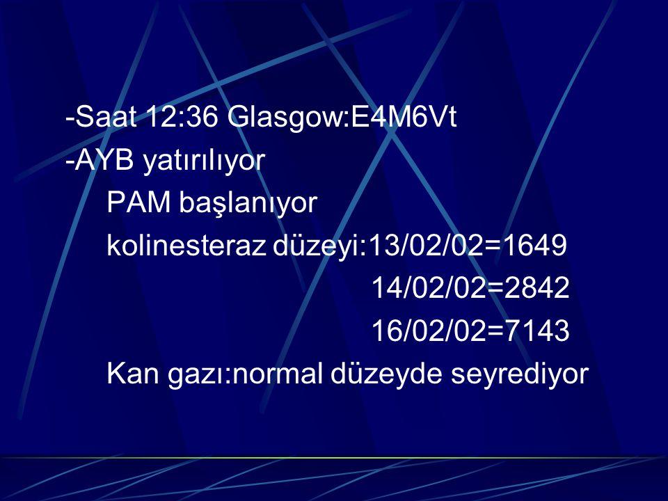 -Saat 12:36 Glasgow:E4M6Vt -AYB yatırılıyor. PAM başlanıyor. kolinesteraz düzeyi:13/02/02=1649. 14/02/02=2842.