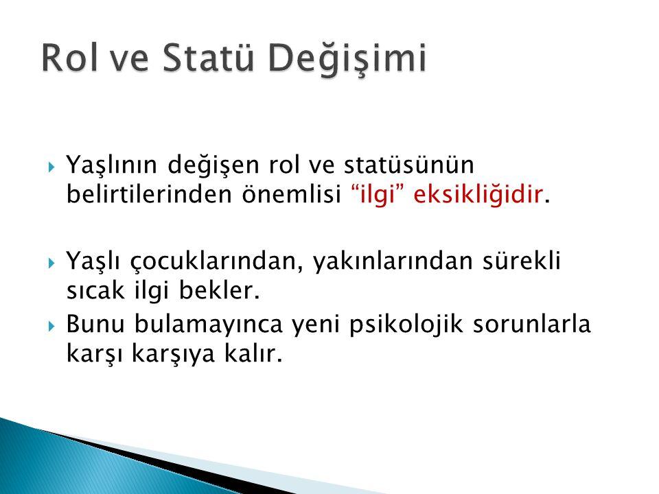 Rol ve Statü Değişimi Yaşlının değişen rol ve statüsünün belirtilerinden önemlisi ilgi eksikliğidir.