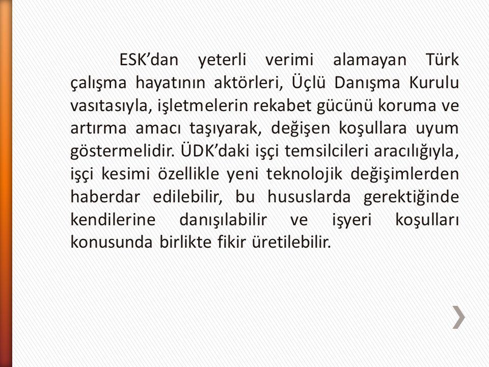 ESK'dan yeterli verimi alamayan Türk çalışma hayatının aktörleri, Üçlü Danışma Kurulu vasıtasıyla, işletmelerin rekabet gücünü koruma ve artırma amacı taşıyarak, değişen koşullara uyum göstermelidir.