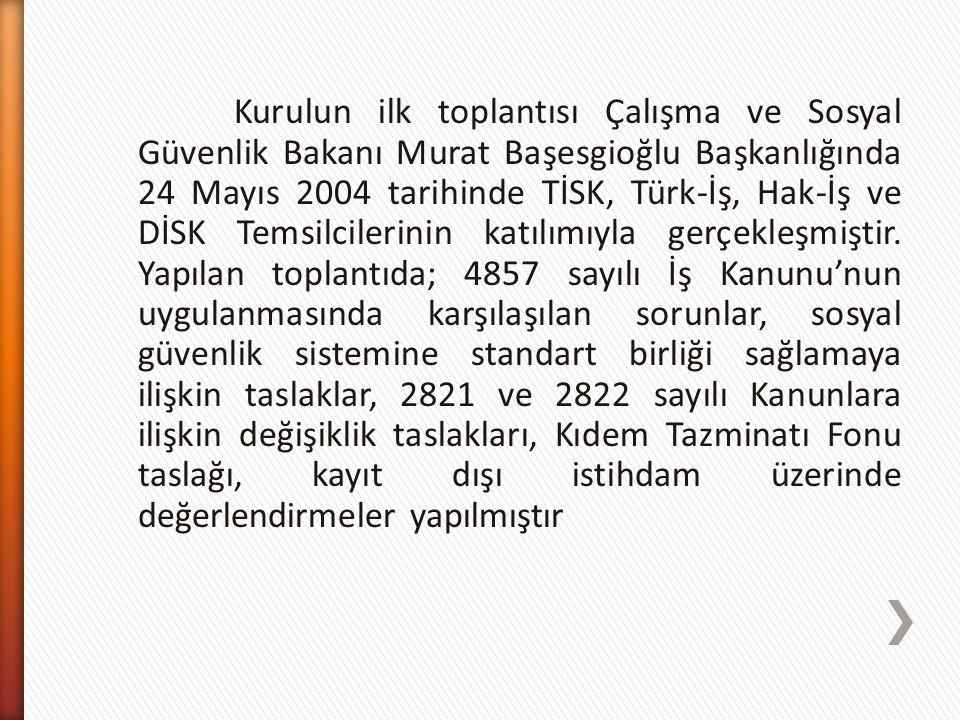 Kurulun ilk toplantısı Çalışma ve Sosyal Güvenlik Bakanı Murat Başesgioğlu Başkanlığında 24 Mayıs 2004 tarihinde TİSK, Türk-İş, Hak-İş ve DİSK Temsilcilerinin katılımıyla gerçekleşmiştir.