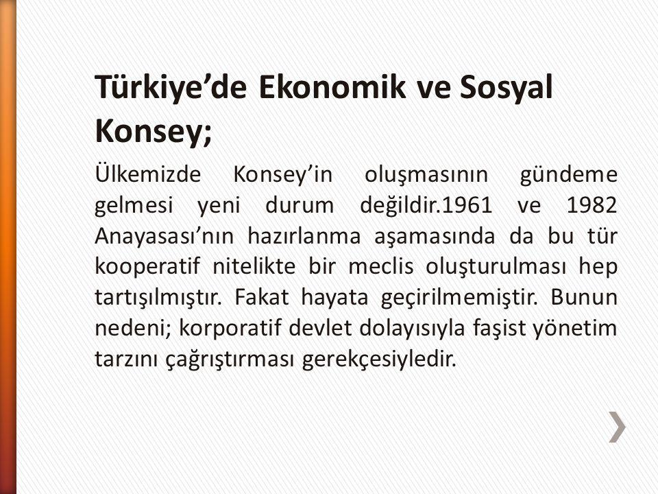 Türkiye'de Ekonomik ve Sosyal Konsey;