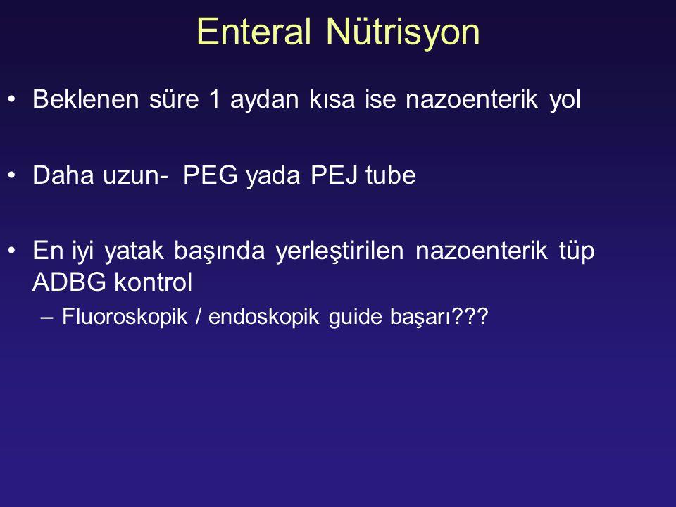 Enteral Nütrisyon Beklenen süre 1 aydan kısa ise nazoenterik yol