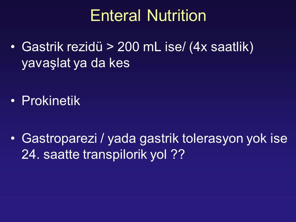Enteral Nutrition Gastrik rezidü > 200 mL ise/ (4x saatlik) yavaşlat ya da kes. Prokinetik.