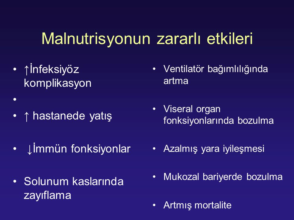 Malnutrisyonun zararlı etkileri