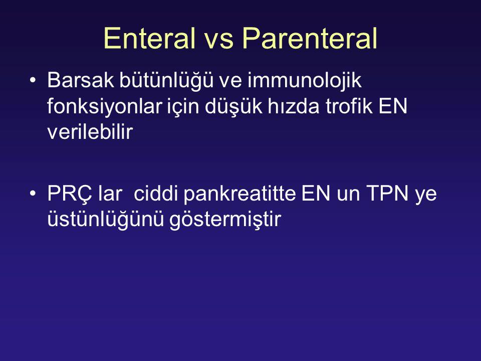 Enteral vs Parenteral Barsak bütünlüğü ve immunolojik fonksiyonlar için düşük hızda trofik EN verilebilir.